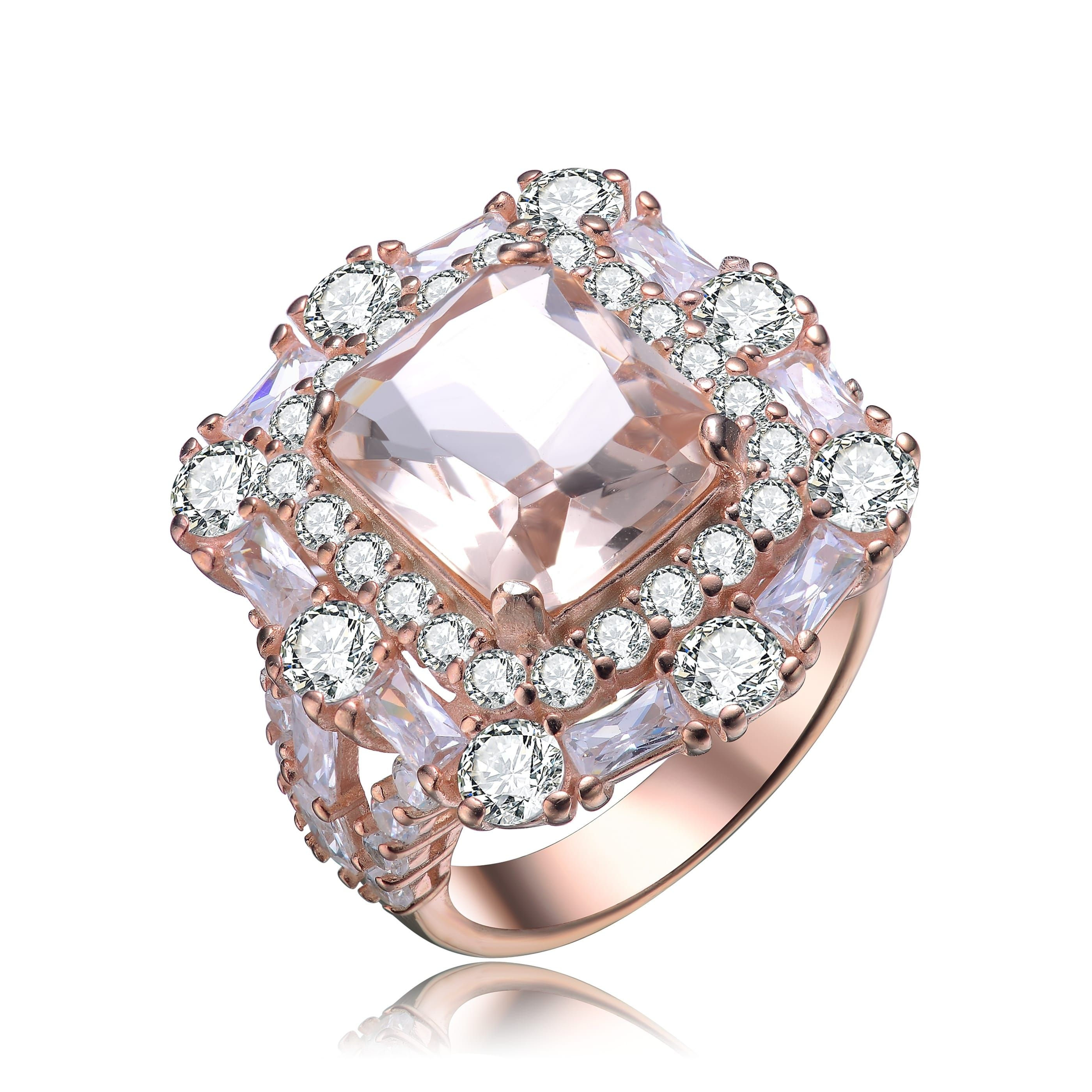 Clear Cubic Zirconia Flowers Ring Two Tone Plated Sterling Silver