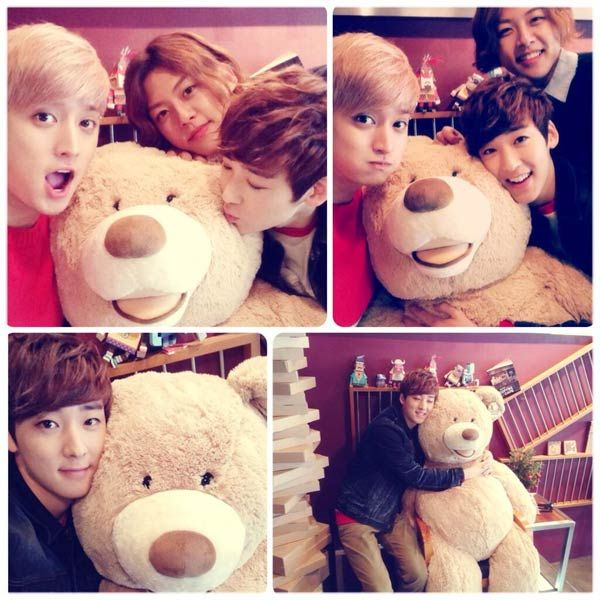 UKISS Eli, Kevin, and DongHo getting cuddly with a Teddy Bear :)  Sooooooo CUTE!!!