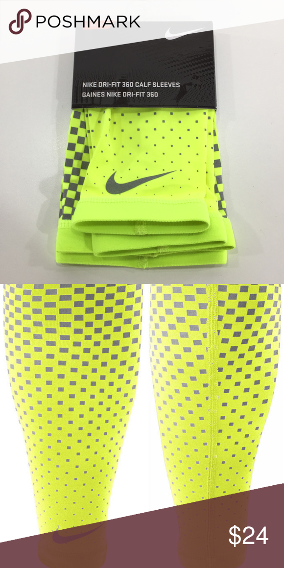 4ae7da6741dc4 Nike Dri Fit 360 Compression Calf Sleeves Nike Dri Fit 360 Compression Calf  Sleeves Reflective Yellow