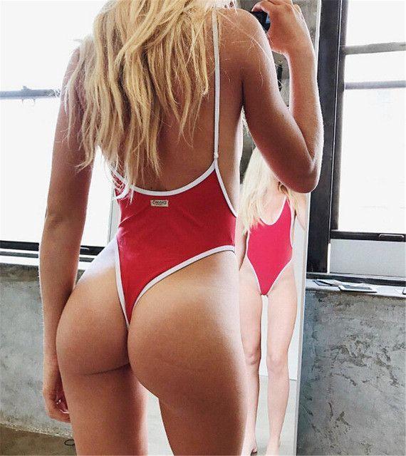 77ca34c28ee5e Thong Swimwear Women One Piece Swimsuit Bodysuit Bikini High Cut Swimming  Suit For Women Monokini Deep V Neck Bathing Suit