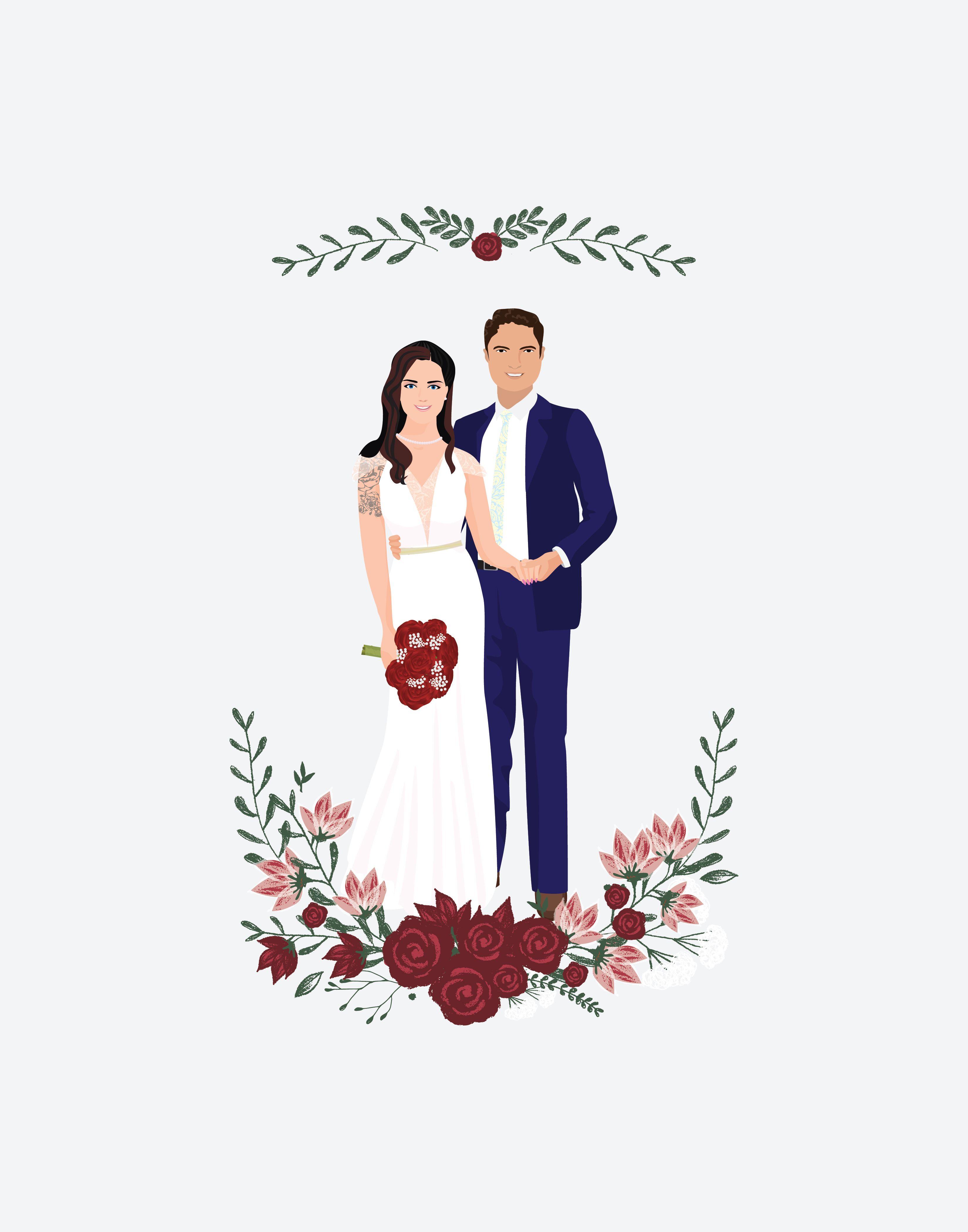 Custom Portrait Couple Gifts Portrait Print Wedding Gift Etsy Custom Portraits Custom Illustration Custom Wedding Illustration