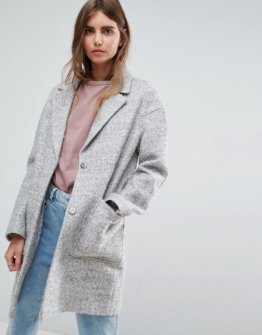 Asos Textured Coat Gray Shop The Look Products Pinterest