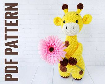 GIRAFFE CROCHET PATTERN, Crochet animal pattern, Amigurumi pattern Plush Giraffe stuff animal, Crochet toy pattern, knit animal pattern #giraffepattern