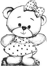 Orsetto Animali Baby Idea Per Pittura Su Stoffa Padrões De