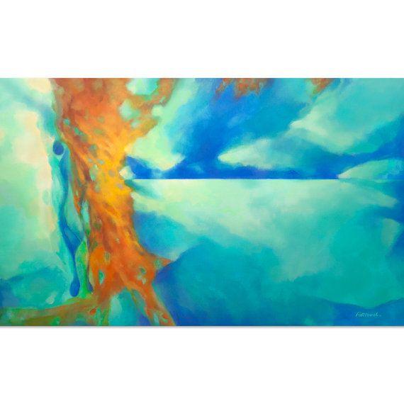 Pintura abstracta azul turquesa azul verde naranja por for Pintura verde turquesa