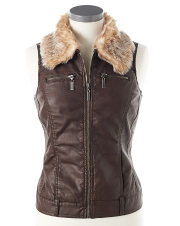 Petite Brown Leather Vest with detachable fur collar