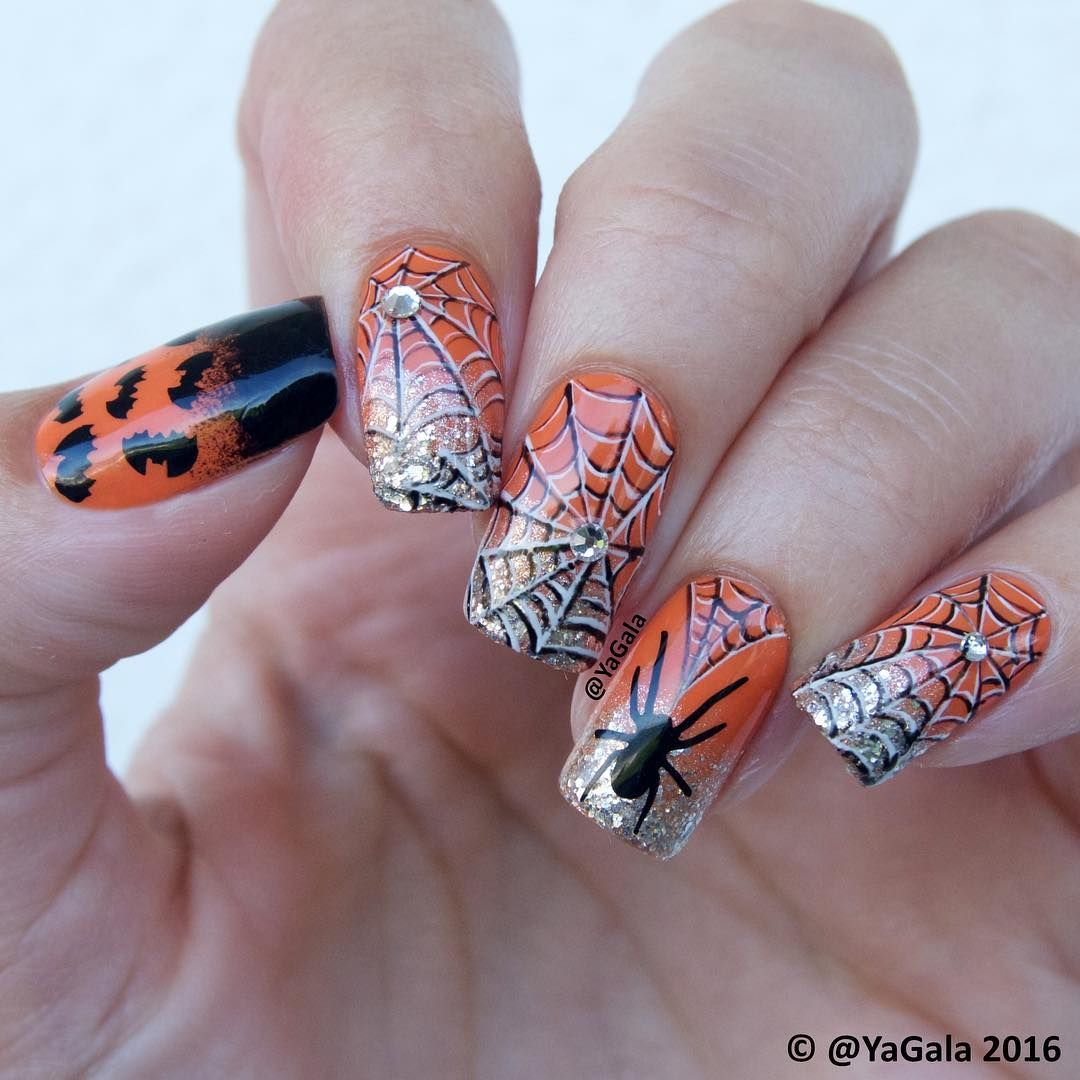 Halloween nail design 📽Video tutorial is on my YouTube ...
