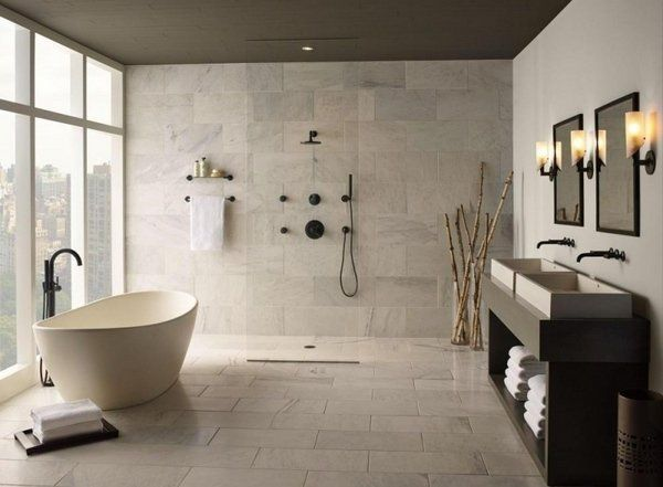 luxury bathroom design bathroom furniture curbless shower freestanding tub  modern vanity