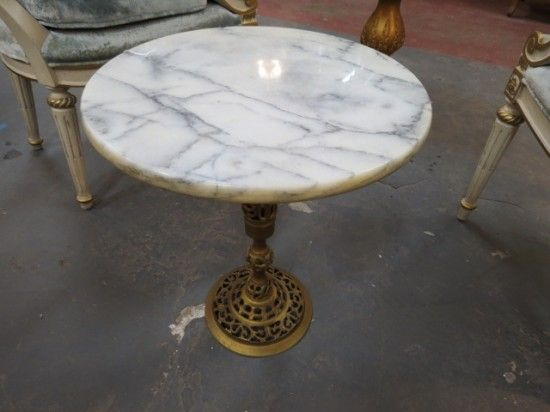 Vintage Antique Small Marble Top Round Pedestal Side Drinks Table 50
