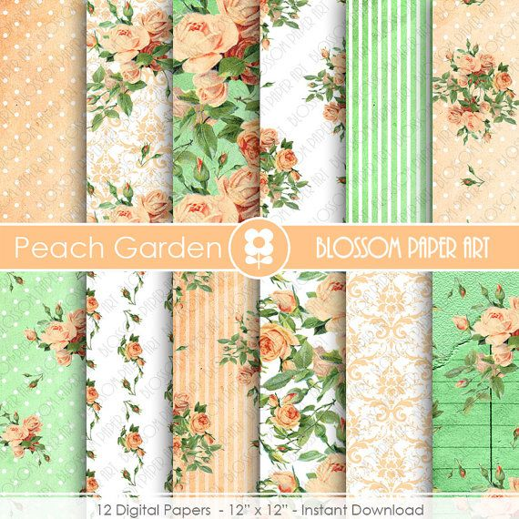 Peach and Green Scrapbook Paper, Floral Digital Paper Roses Scrapbook Paper Pack, Wedding, Scrapbooking - INSTANT DOWNLOAD