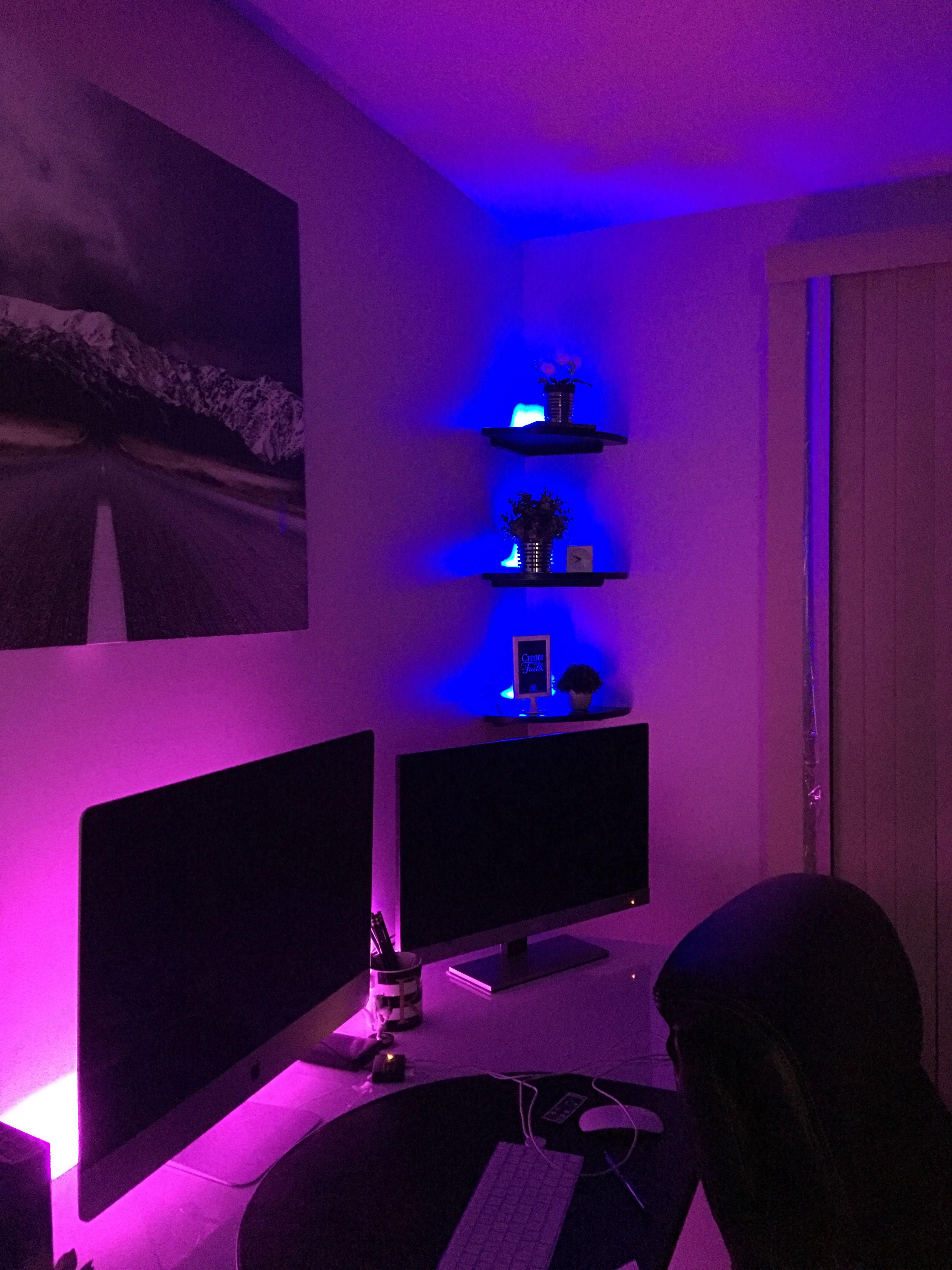 Home Office Led Mood Lighting Setup Light Strip From Ikea Dioder Led Lighting Strip Flexible Led Lighting Bedroom Led Strip Lights Bedroom Small Room Bedroom