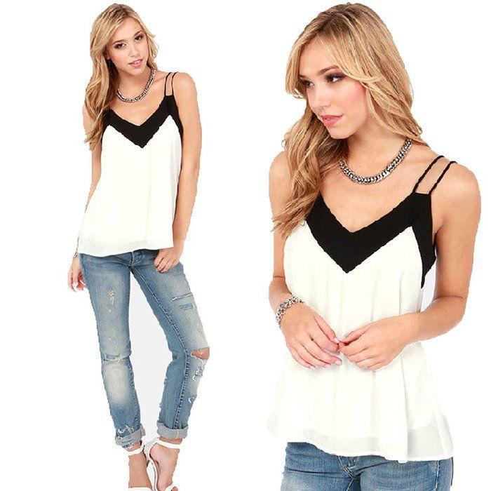 Usstore Women Loose Chiffon Blouse V Neck Tank Tops Casual Short T-Shirt (XL)