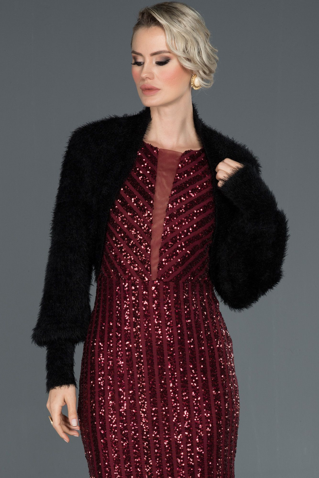Siyah Balon Kol Orgu Bolero Nl7777 2020 Elbise Modelleri Elbise Mini Elbise