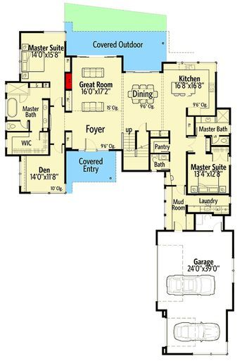 Modern house plan with master suites hu floor main level also favorite rh pinterest