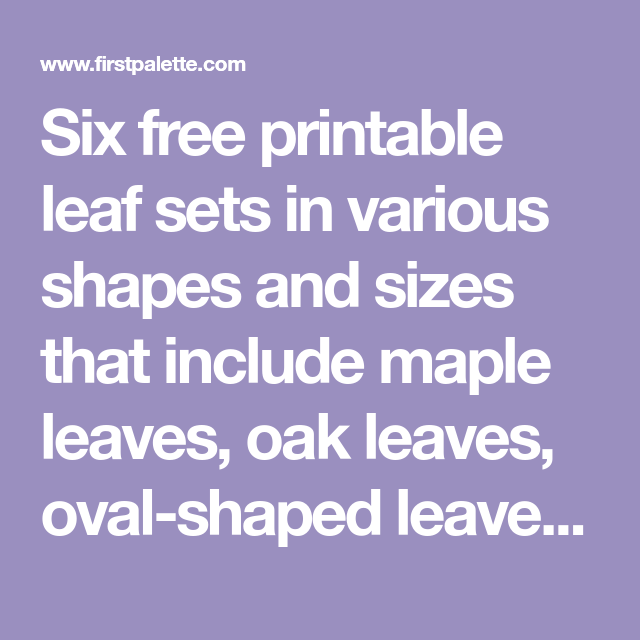 Six Free Printable Leaf Sets In Various Shapes And Sizes