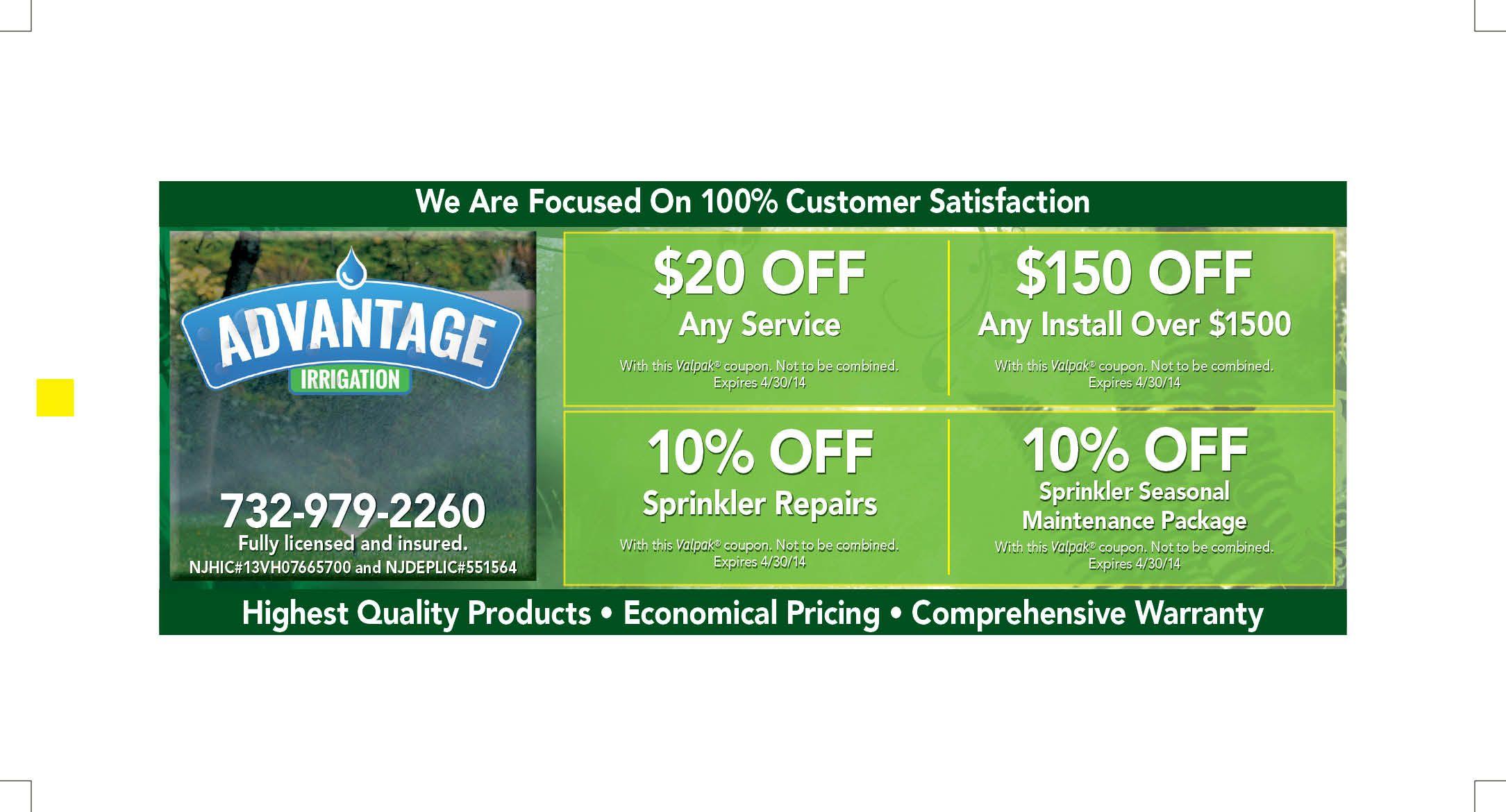 Blue Envelope Ad Side 2 Sprinkler Repair Coupons Irrigation
