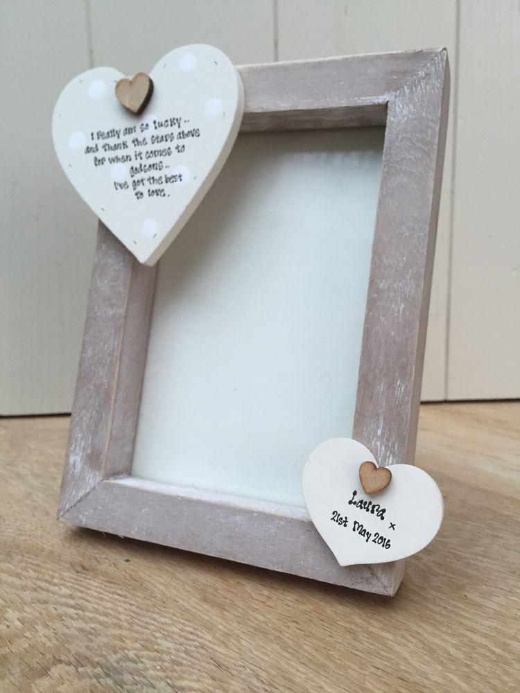Shabby personalised Chic Photo Frame Godson Gift Godparents ...