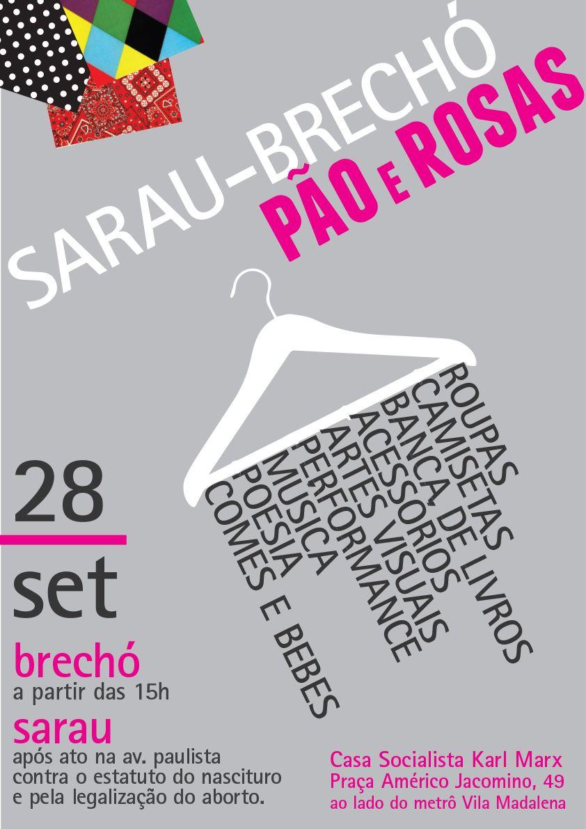 9fcb2afed09 Poster - Cartaz - Sarau Brechó Pão e Rosas - Juliana Alguma  graphic   design  poster