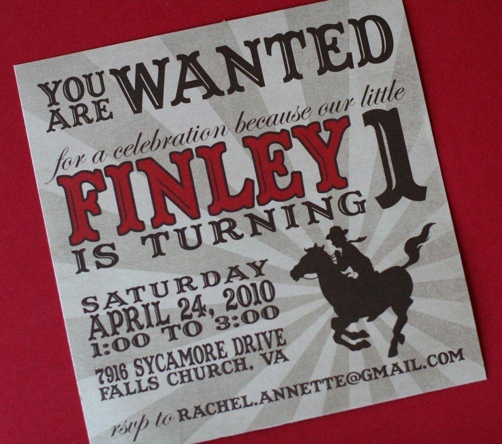 Cowboy Birthday Invitation JPEG. $15.00, via Etsy. | Amanda\'s ...