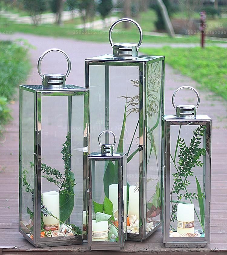 large outdoor stainless steel lantern portable candlestick modern minimalist hotel beach party specialin candle - Outdoor Candle Lanterns
