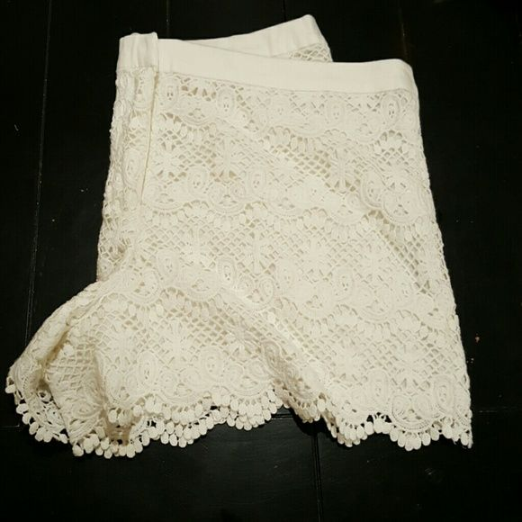 White Crochet shorts Love these shorts! Sadly or not so sadly they are too big on me so off to another fabulous lady! I only wore them twice and I wash them in a little mesh bag so they don't get caught on things. Joe Fresh Shorts