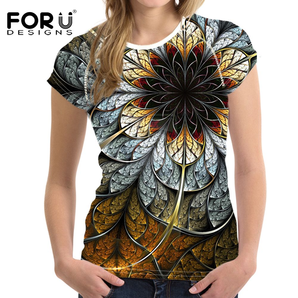 e8cba150bd8 FORUDESIGNS 3D Flowers Rose T-shirts Women Summer Tops Tees Print T shirt  Women Fashion Tshirts Vetement Femme Plus Size S-XXL   Price   43.27   FREE  ...