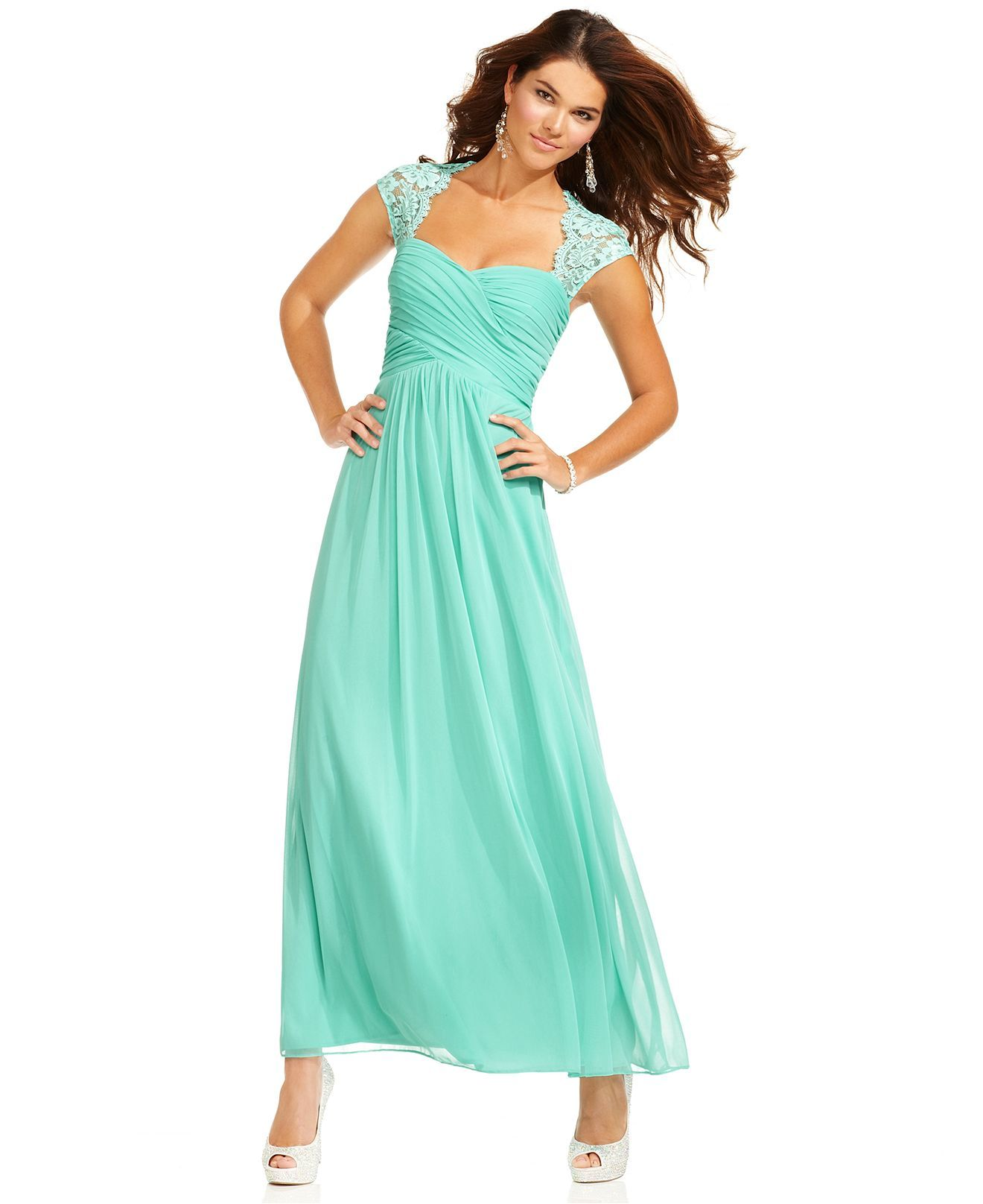 Xscape Dress, Cap-Sleeve Lace Pleated Sweetheart Gown - Womens ...