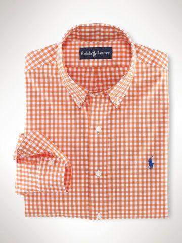 859470d25d4 Polo Ralph Lauren Custom Fit Gingham Shirt Orange white   Hubby's ...