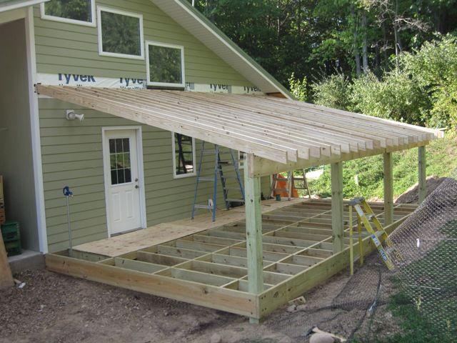 Slant roof shed plans decks in 2018 pinterest shed for Porch plans shed roof