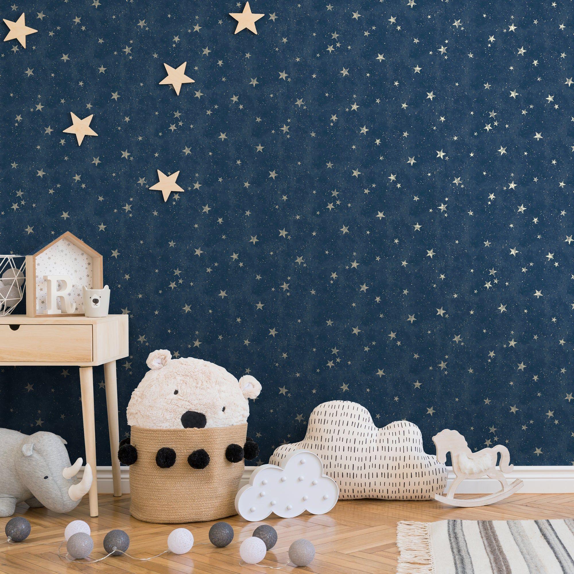Starlight Navy Wallpaper In 2020 Navy Wallpaper Space Themed Bedroom Kid Room Decor