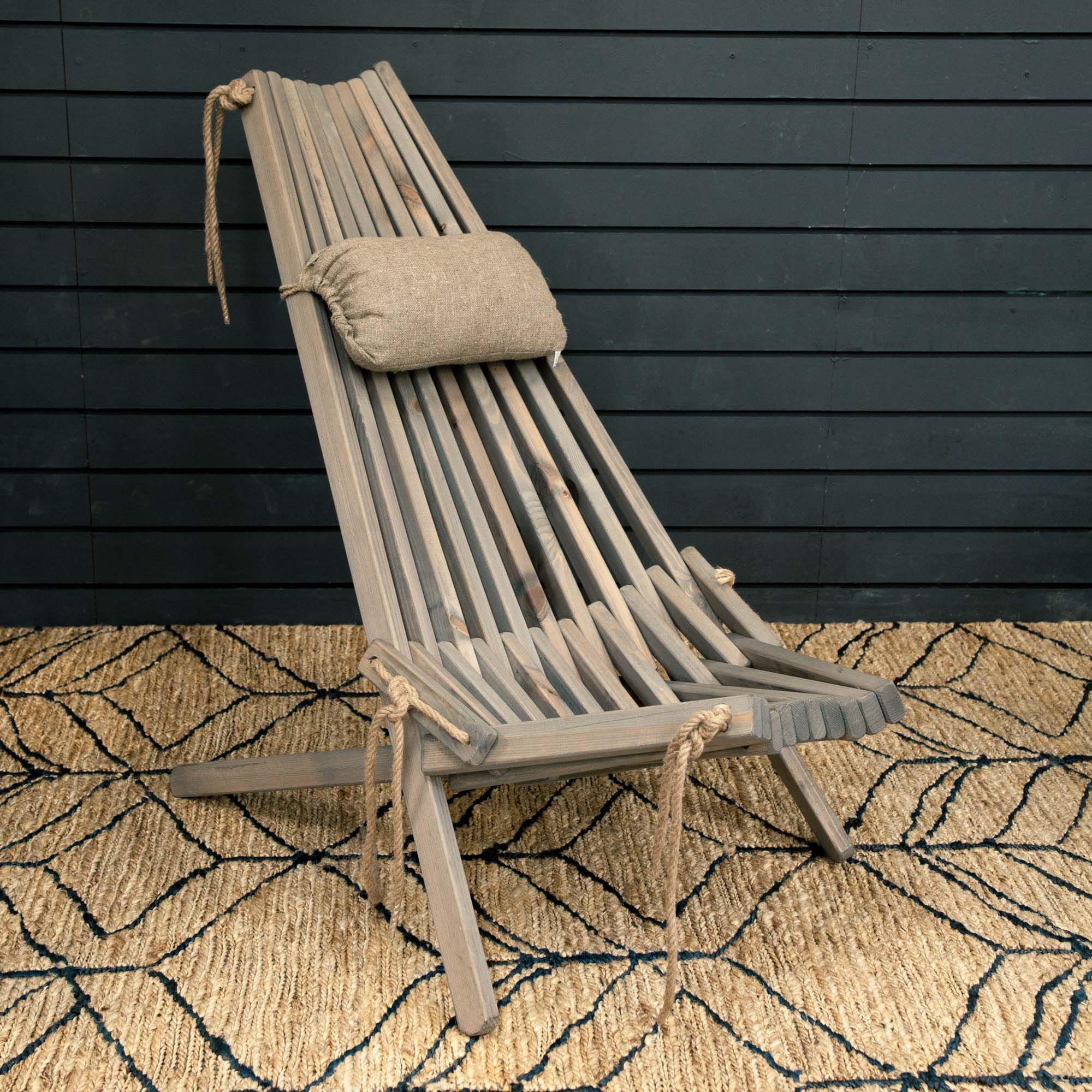 Buy Swedish Folding Wood and Rope Chair with Linen Cushion