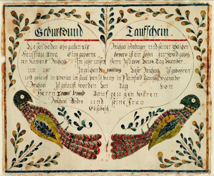Pennsylvania Fraktur Manuscript Birth Certificate Fraktur And