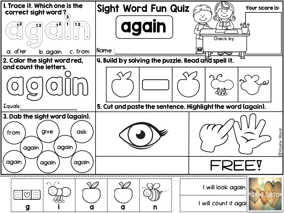 Free/Kindergarten/First Grade/Second Grade/Sight Word Activities ...