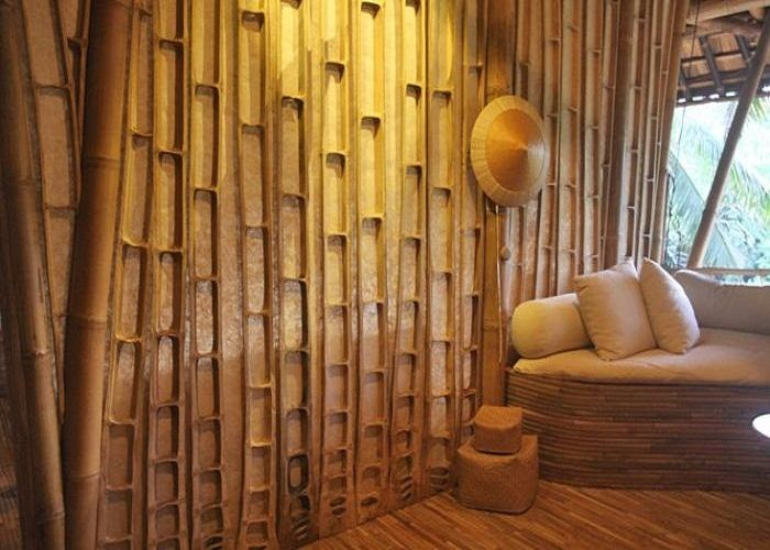 Decoration awesome bamboo wall panels in bedroom interior for Babou decoration