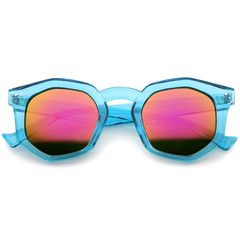Retro Geometric Colorful Translucent Hexagon Sunglasses A248 - Blue Pink Mirror