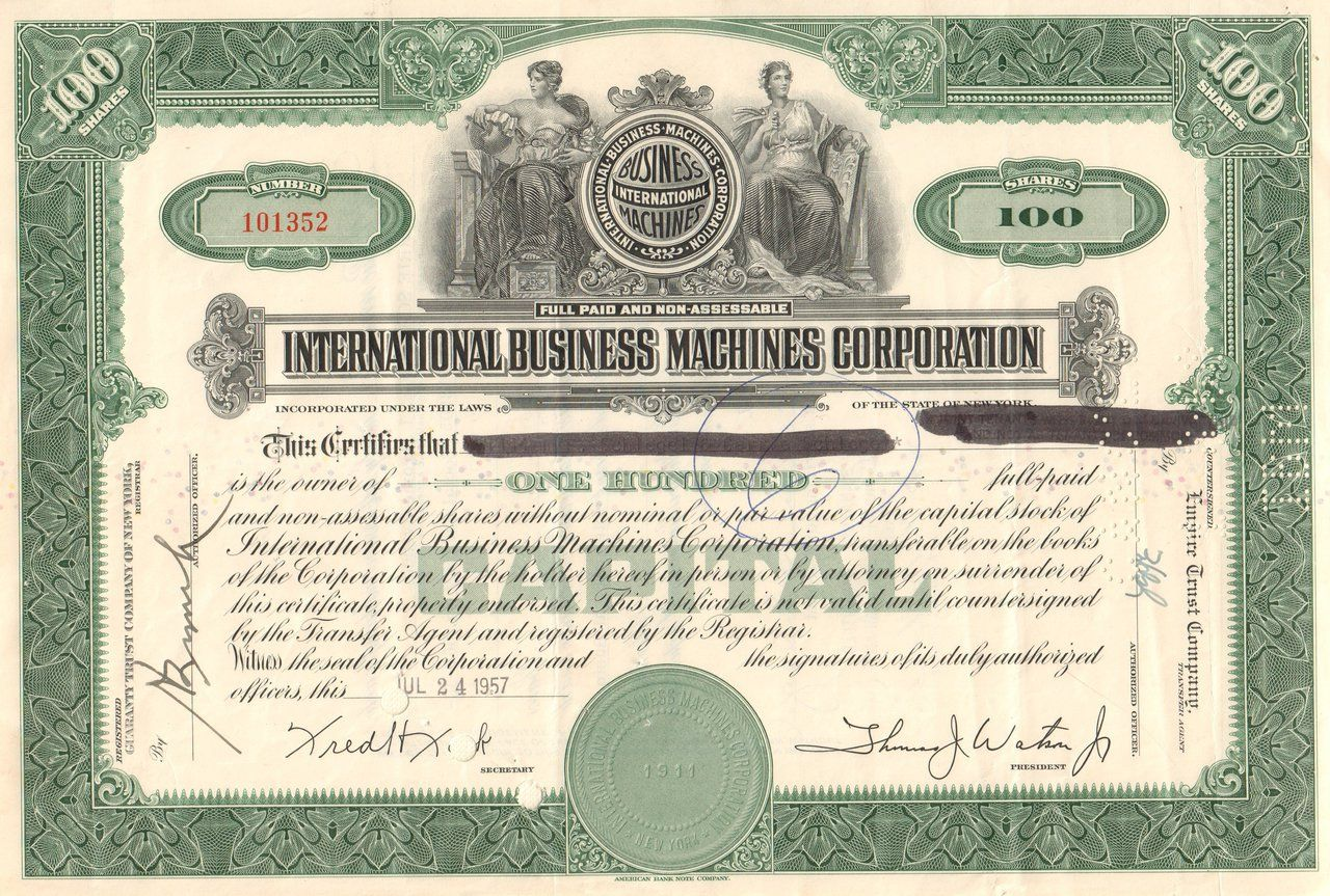 international business machines corporation stock certificate international business machines corporation stock certificate 1950 s ibm big