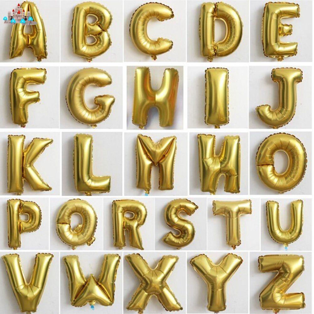 저렴한 16 인치 편지 플로트 공 공기 호일 골드 알파벳 abc-z 풍선 웨딩 장식 풍선 아이 풍선 toys