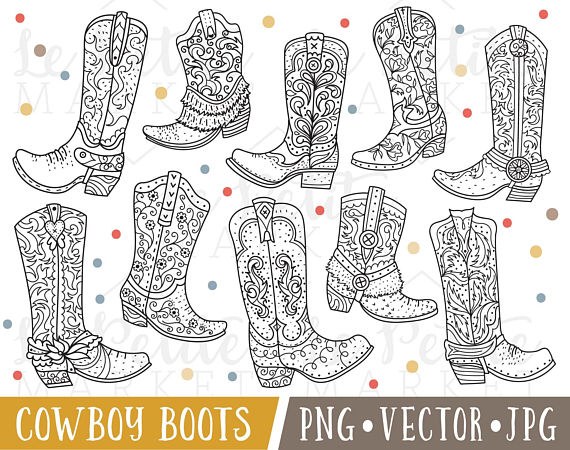 Hand Drawn Cowboy Boot Clipart Images Cowboy Boot Clip Art Cowgirl Boot Clipart Cowboy Boot Digital Stamps Cute Western Clipart How To Draw Hands Clip Art Cowboy Boot Tattoo