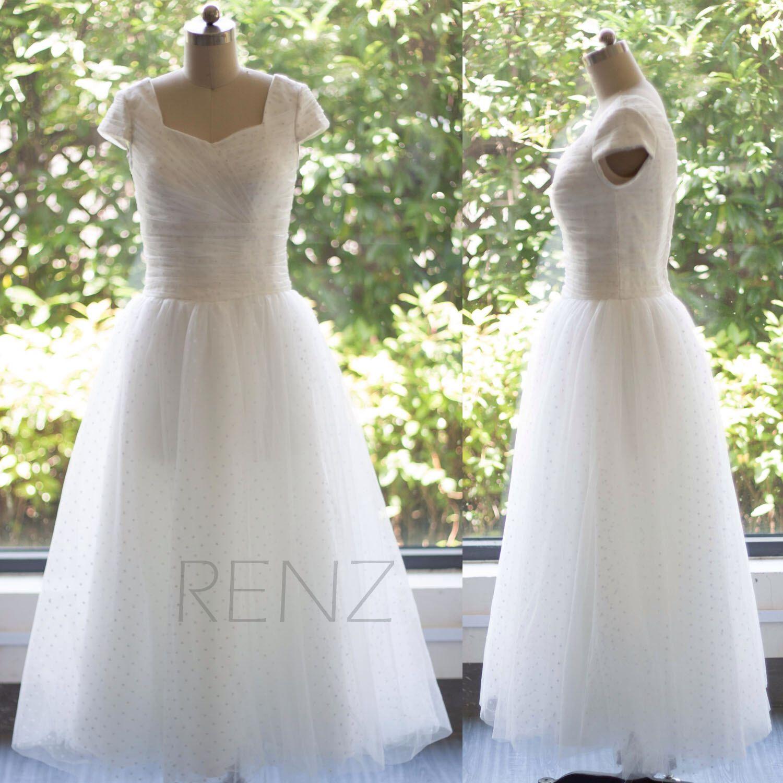 white bridesmaid dressdot mesh cap sleevessquare neck empire
