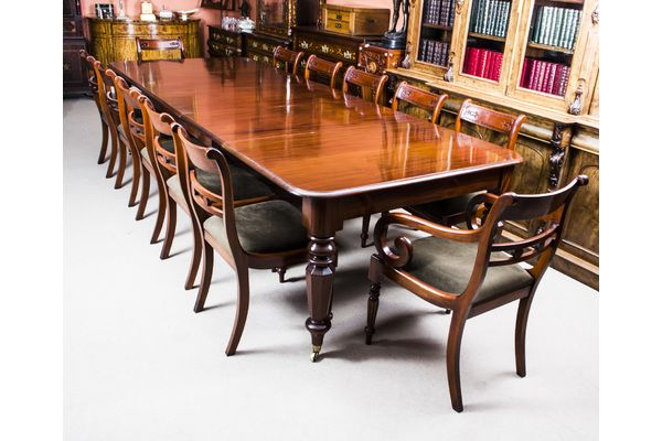 Antique Wiliam Iv Mahogany Extending Dining Table 12 Chairs