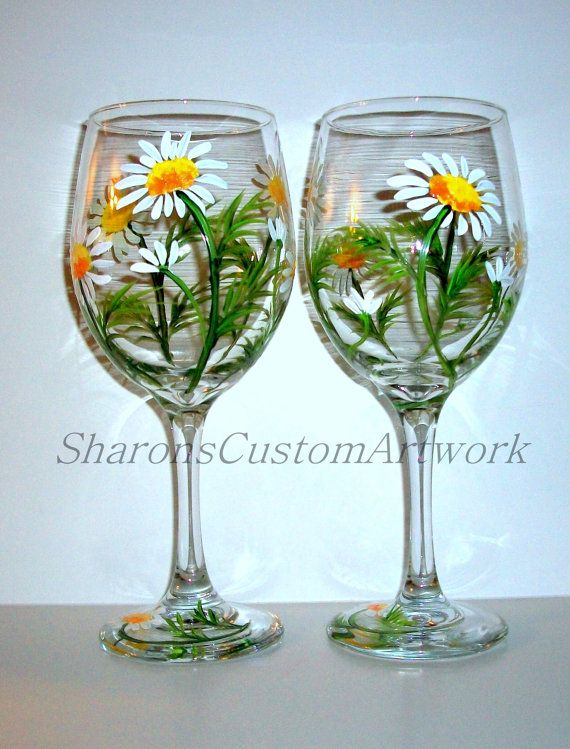 Beautiful Hand Painted Wine Glass Inspired By Springtime