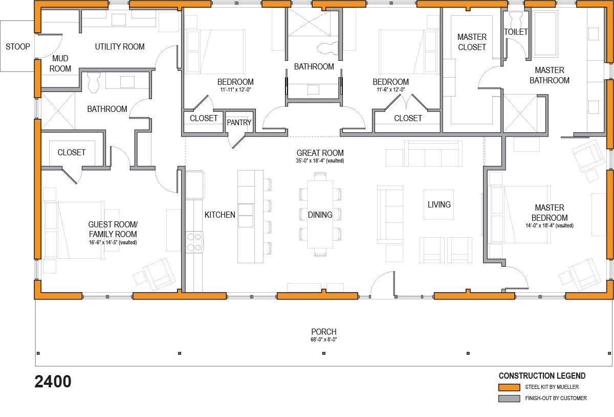 Homestead Series Mueller Inc Metal Homes Floor Plans House Floor Plans Steel Buildings