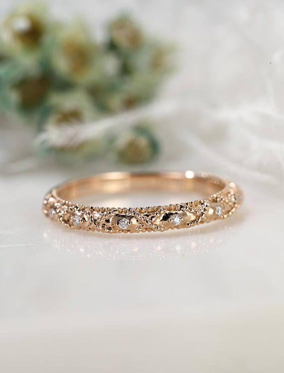Rose Gold Wedding Band Vintage Art Deco Half Eternity Band Etsy In 2021 Gold Wedding Bands Women Wedding Rings Vintage Womens Jewelry Rings