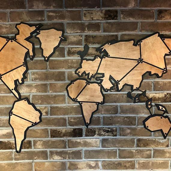 Antdecor metal world map 59x35 150x90cm metal wall decor metal wall art steel world map world map interior wooden world map