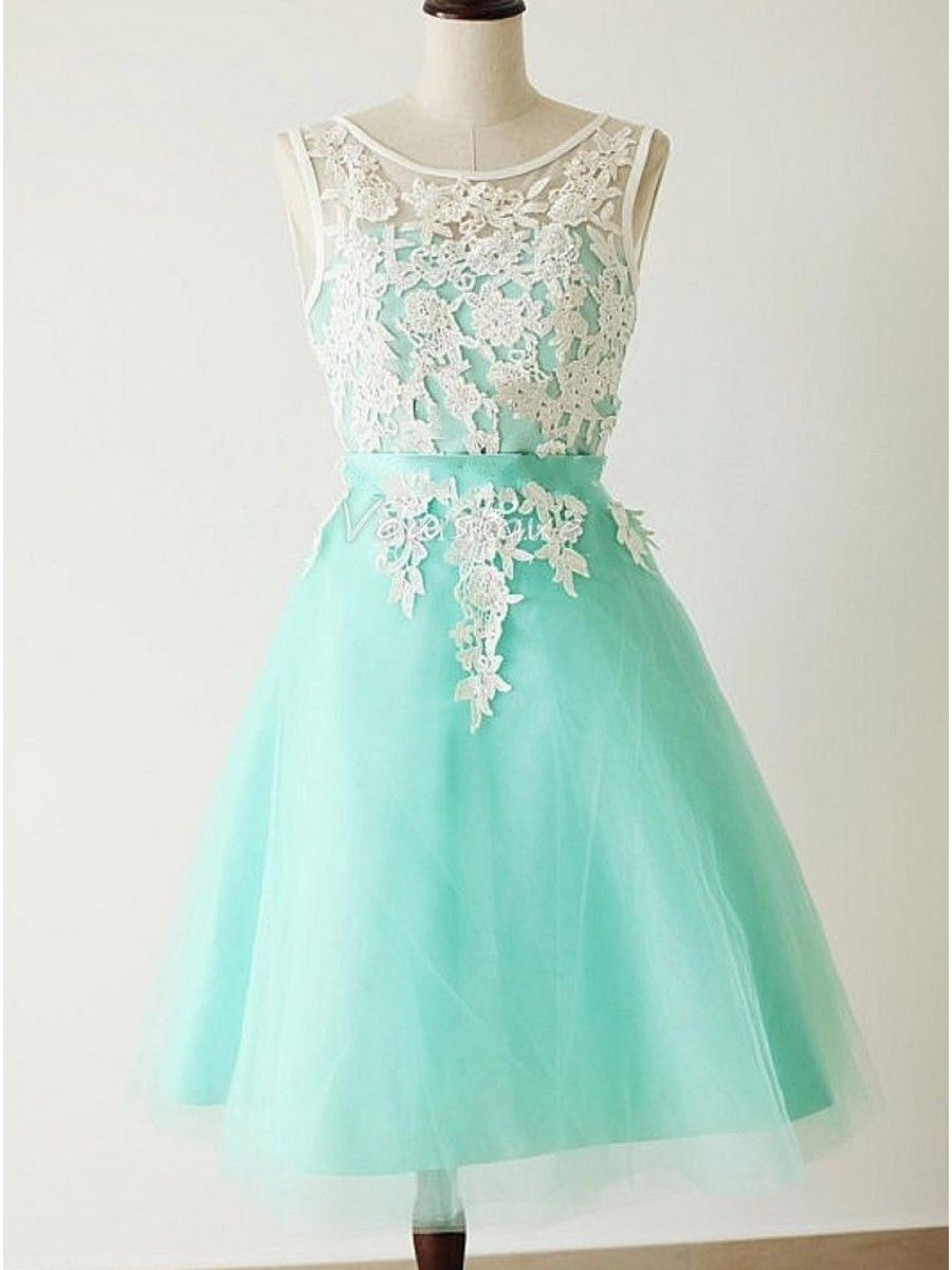 A-Line Short Blue White Lace Wedding Party Dresses Bridesmaid Dresses  99601093