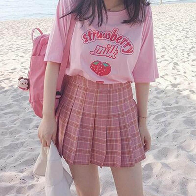 10.04US $ 7% OFF|hahayule Pink girl Series Strawberry Milk Graphic Summer Fashion 100% Cotton Casual Tops Korean Style Girl Funny  Short Sleeves|T-Shirts|   - AliExpress