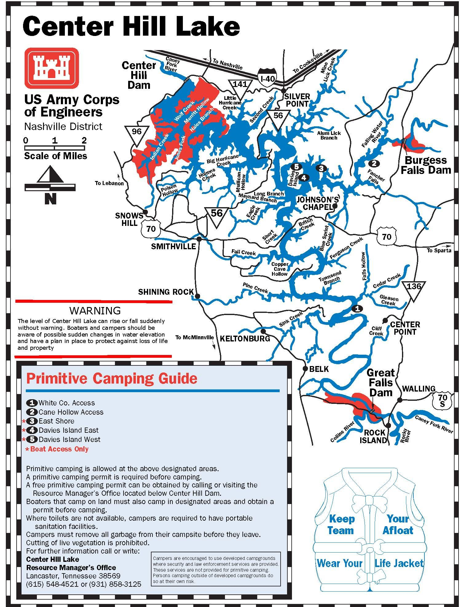 Primitive Camping Site On Center Hill Lake Map Camping And - Tn lakes map