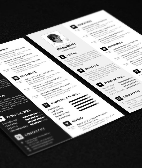 Freebie Resume template with CV by uniquegraph CV ↔ Resume