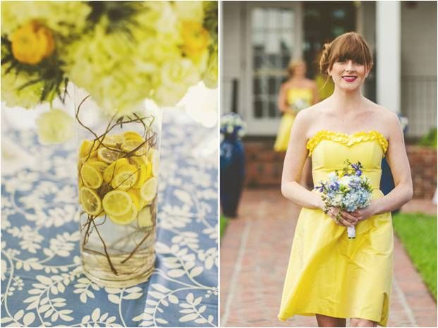 lemons with twigs are equally effective and against this patterned table cloth it makes the look more unusual