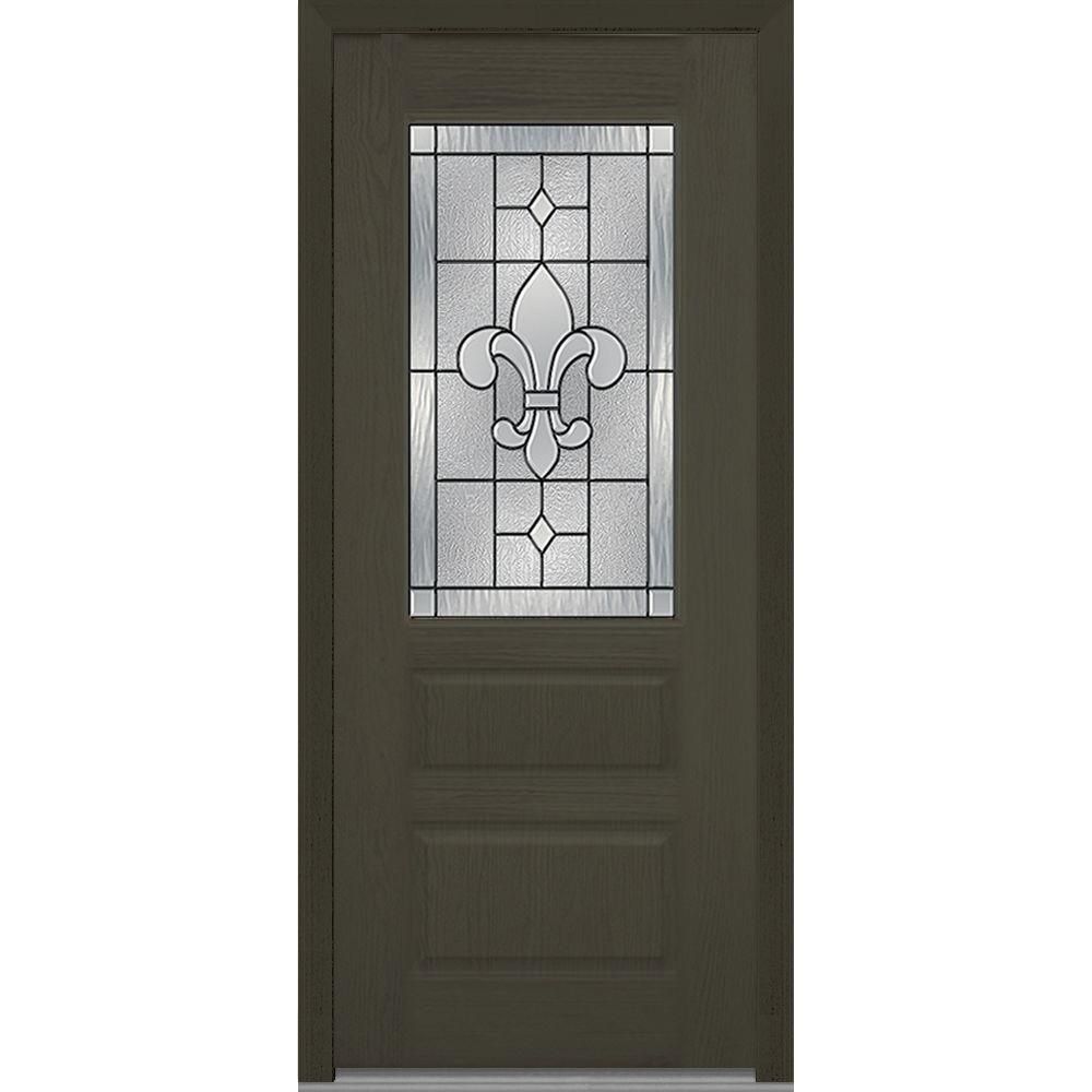 Mmi Door 37 5 In X 81 75 In Carrollton Decorative Glass 1 2 Lite Oak Finished Fiberglass Exterior Door Fiberglass Exterior Doors Glass Decor Mmi Door